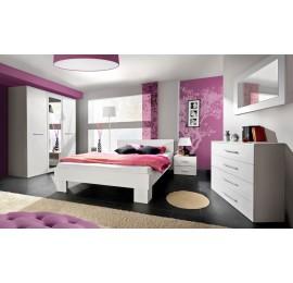 Sypialnia Vicki - biały połysk - łóżko 160 szer.